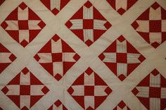 Antique Vintage Quilt Top Stars Red White and by MegWarnerStudio