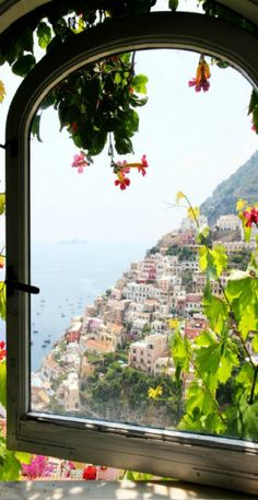 View in Positano, Italy / Villa Fiorentino . Dinner in Positano with new found friends .