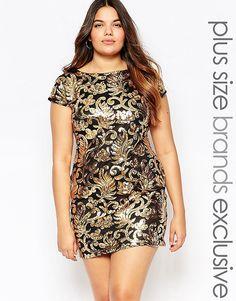 Club L Plus Baroque Sequin Embellished Shift Dress