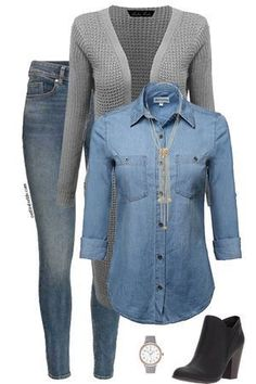 Want to look cute at work visit outfitsforlife com for links to each Mode Outfits, Jean Outfits, Casual Outfits, Fashion Outfits, Fashion Trends, Fasion, Fashion Styles, Style Fashion, Look Camisa Jeans