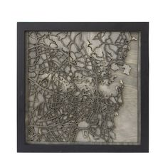 Laser cut wood map of Sydney by Kasia Wisniewski & Nick Foley at Collected Edition