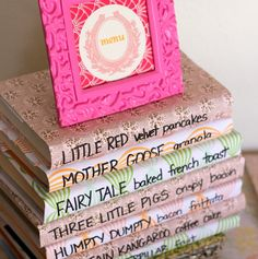 Book baby shower menu display - love these ideas for food too!  Especially the Three Little Pigs bacon, haha.