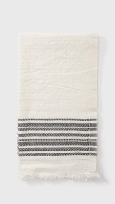 Samuji Striped Tea Towel in Black | The Dreslyn