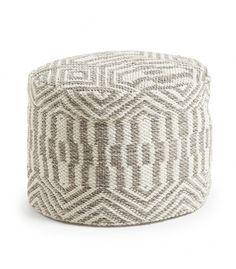"""Puf de algodón gris y blanco desenfundable """"ETHNIC"""""""