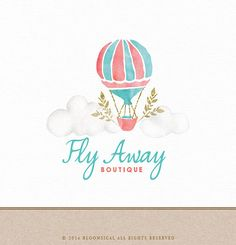 Shop for on Etsy, the place to express your creativity through the buying and selling of handmade and vintage goods. Balloon Clouds, Hot Air Balloon, Balloons, Name Card Design, Watercolor Projects, Watercolor Logo, School Art Projects, Travel Logo, Logo Design Inspiration