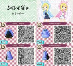 animal crossing new leaf qr code cute blue black white dotted dress with hood outfit fashion mode clothes twins acnl design by sturmloewe