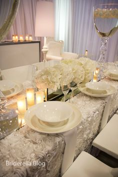 Soo dreamy---->Rosette Tablecloth, Mirror Runner  Id love this for a head table :)