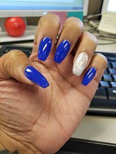 Royal blue nails nails in 2019 royal blue nails, acylic nail Silver Acrylic Nails, Blue And Silver Nails, Blue Glitter Nails, Blue Coffin Nails, Cobalt Blue Nails, Royal Blue Nails Designs, Fire Nails, Birthday Nails, Prom Nails
