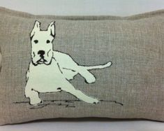 Dog pillow - Cushion Cover -  Embroidered Pillow Cover - dog lover - Great Dane - Custom made to your dog's breed
