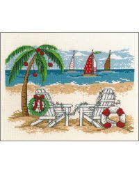 Cross Stitch Kits, Cross Stitch Designs, Cross Stitch Patterns, Cross Stitching, Cross Stitch Embroidery, Embroidery Patterns, Tropical Christmas, Summer Christmas, Xmas