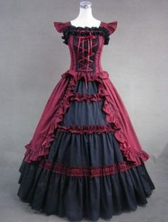 Vintage Red and Black Cap Sleeves Gothic Victorian Dress