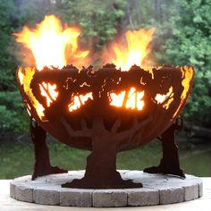 The Fire Pit Gallery 7010001-37D Forest Fire Custom Steel Fire Pit - Outdoor Living Showroom