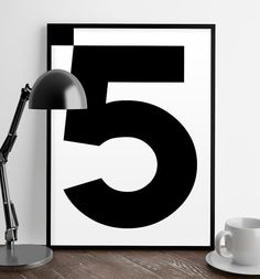 Numbers print 5 Poster Number poster by ShopTempsModernes on Etsy
