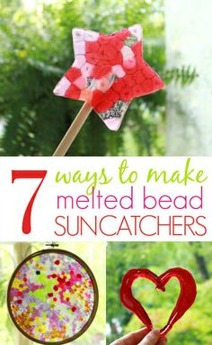 7 of our favorite ways to make melted pony bead suncatchers on the grill (or in the oven). These homemade suncatchers are easy to make, durable & beautiful! via Artful Parent Plastic Beads Melted, Melted Pony Beads, Melted Bead Crafts, Pony Bead Crafts, Beaded Crafts, Cute Kids Crafts, Craft Projects For Kids, Craft Ideas, Activity Ideas
