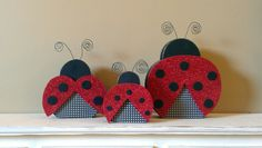 Wood Ladybug set of 3 ladybug decor summer wood decor crafts girls bedroom decor. $30.00, via Etsy.