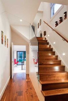 The Pelham Road project was the complete refurbishment and extension of a dilapidated semi-detached house in South London. 1930s Semi Detached House, Detached Garage, Dark Wood Floors, Wood Flooring, Modern Stairs, House Stairs, House Extensions, Aesthetic Bedroom, Staircase Design
