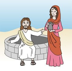 Woman With Jesus Clipart #1