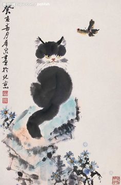 Idea and asian art cat painting entertaining phrase