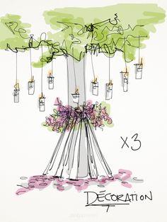 Ajoutez un coté organique à votre salle de réception en ajoutant des faux arbres décorés.    Add an organic aspect to your reception with fake decorated trees.