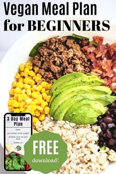 Don't know where to start when it comes to eating a plant-based diet? This 3 day meal plan for beginners will help you ease into a healthy vegan diet with 13 recipes the whole family will love… Vegan Recipes Plant Based, Vegan Recipes Beginner, Recipes For Beginners, Good Healthy Recipes, Delicious Vegan Recipes, Whole Food Recipes, Vegan Meal Plans, Free Meal Plans, Vegan Meal Prep