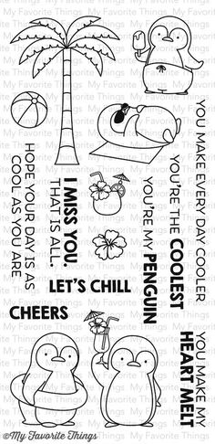 My Favorite Things PENGUINS IN PARADISE Clear Stamps MFT BB20 zoom image