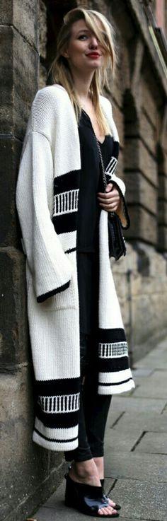 Black n White Sweater Coat  • Street 'CHIC • ❤️ Babz ✿ιиѕριяαтισи❀ #abbigliamento