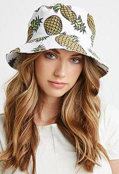 Pineapple Print Bucket Hat   Forever 21 - 2000077300