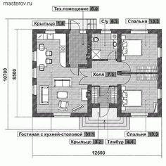 Одноэтажный дом 12,5 на 8,5 № F-083-1P [AV307] - 1-й этаж