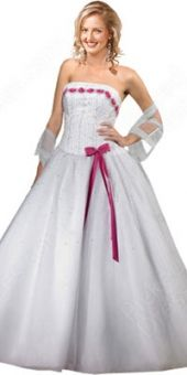 BallGown Strapless Tulle Floor-length White Bow Quinceanera Dress