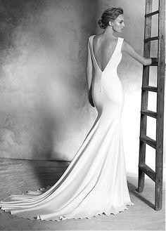 The Elegant Stretch Satin Jewel Neckline Sheath Silhouette Wedding Dress