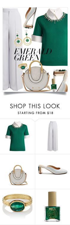 """Emerald City: Pops of Green"" by mariamouzaki ❤ liked on Polyvore featuring Mary Katrantzou, Chloé, Gabriela Hearst, Judy Geib, ncLA and emeraldgreen"