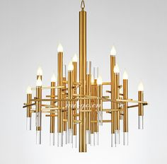 MI-GO米高家居,美式钛金蜡烛条吊灯,American style titanium golden Candle Chandelier