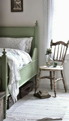 vintage bedroom Scandinavian style Green Bed Alarm Clock Vase old-fashioned chair