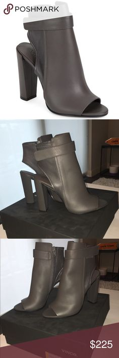 "NIB Vince 'Brigham' Open Toe Bootie Brand new in box! Gorgeous gray leather open toe booties purchased from Nordstrom Rack & never worn. 4"" heel and 6"" boot shaft. True to size. Size zipper. Made in Italy. Includes box & dustbag. Smoke free home. Vince Shoes Ankle Boots & Booties"