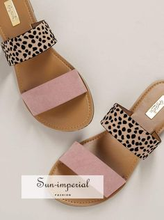 Leopard Double Band Flat Slide Sandals - Post Tutorial and Ideas Cute Sandals, Sport Sandals, Slide Sandals, Flat Sandals, Sandal Heels, Sandals For Work, Double Strap Sandals, Women's Shoes, Me Too Shoes