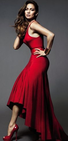 You really can't go wrong with a red dress...