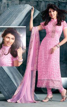 Ravishing Rose Pink Fashionable Churidar Kameez Set (HSPYAM1085) - OnlineDesignerStore.com