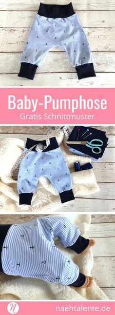 Freebook für eine Baby-Pumphose aus Jersey. Mit sehr guter Nähanleitung. Für alle Anfänger geeignet. Genial und einfach zu nähen. Gratis PDF-Schnittmuster zum Drucken. ✂️ Nähtalente - Das Magazin für Hobbyschneider/innen ✂️ Free Sewing Pattern for baby pants. For all knit fabrics. Very easy to sew. ✂️ Nähtalente - Magazin for sewing and free sewing pattern ✂️ #nähen #freebook #schnittmuster #gratis #nähenmachtglücklich #freesewingpattern #handmade #diy