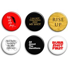 Hamilton the Musical Broadway Magnets or Pinback Buttons Set of 6 (7.80 CAD) ❤ liked on Polyvore featuring home, home decor, office accessories and button magnets