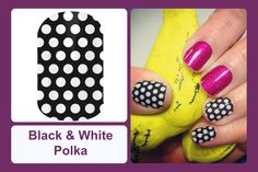 This classic design features white polka dots on a solid black background. #bevsjamminnails https://bkimball.jamberry.com/us/en/shop/products/black--white-polka#.VxeYXfkrJQI