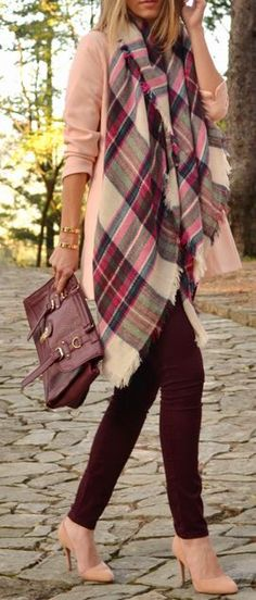 burgundy skinny jeans & plaid scarf