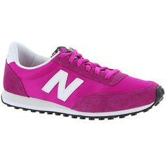 New Balance 410 Winter Bright Collection ($65) ❤ liked on Polyvore featuring shoes, athletic shoes, sneakers, pink, new balance athletic shoes, wide athletic shoes, walking running shoes, pink shoes and cross training shoes