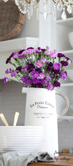 French inspired pitcher & purple flowers- Weekend~Favorite Finds