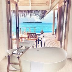 This bath with a view is on point  || Wishing we were there : @travel_a_little_luxe