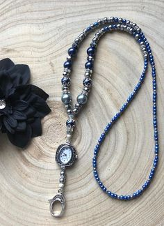 Clock / Blue Gray and Silver Beaded Lanyard with Watch / Lanyard Necklace, Beaded Necklace, Pearl Beads, Silver Beads, Vintage Style, Vintage Fashion, Thing 1, Blue Pearl, Lanyards