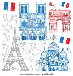 Set Of Hand Drawn Sketches Of The Famous Sights Of Paris, France - Eiffel Tower, Basilique Du Sacre Coeur, Notre-Dame De Paris, Arc De Triomphe. Vector Illustration Isolated On White Background - 235928050 : Shutterstock