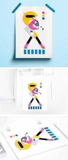 Umbrella poster Umbrella art illustration Geometric art Woman minimal art Modern draaws Scandinavian woman Rou Cou #woman #poster #geomatric #umbrella #draw #modern #decor #art #print