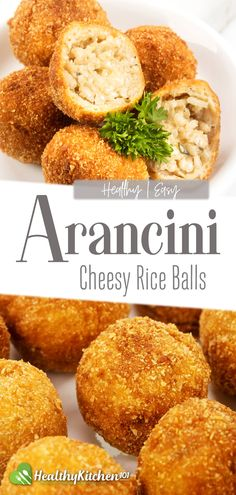 Italian recipes are really more than just pasta and tomato sauce. This arancini recipe is a great example: chewy balls of rice with a perfect golden crust and stuffed with melted mozzarella, making it a great appetizer for any party! #HealthyRecipes #Homemade #Italian #allpurpose #Appetizer #arancini #Rice #RiceBalls #parmesan #mozzarella #cheese #HealthyKitchen101