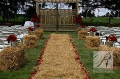 Hay used for the aisle.