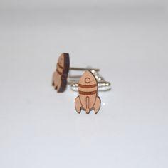 """Boutons de manchette en bois """"Fusée"""" Création et assemblage à la main en France Mylittlefox_Design for kids"""